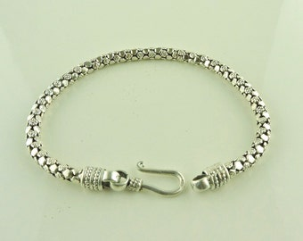 "Sterling Silver Textured Popcorn Bracelet 8"" (14.8 grams)"
