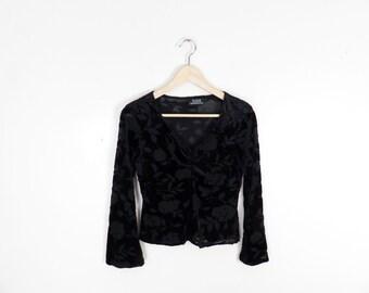 Vintage 90s Witchy Burnout Bellsleeve Black Velvet Top Size S/M
