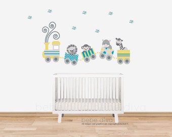 Transportation Wall Decals, Wall Decal Nursery, Nursery Wall Decal, Jungle Animals, Safari Wall Decal, REMOVABLE and REUSABLE