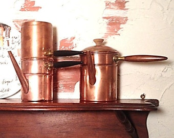 Old Coffee Flip Espresso and Chocolate Copper & Brass Collectible Pots, Antique Coffee Pot, Kitchen Decor Rustic Accent, Country Decor
