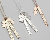 Vertical Bar Necklace, Mom Necklace, Kids Names, Gold, Rose, Silver, Custom Hand Stamped Necklace, Custom Name, Dates, Initials [V435 2X]
