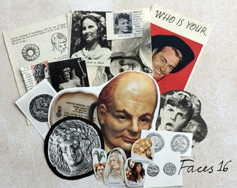 Pack of 16 Vintage faces, a mixed collection of faces. Vintage ephemera for art, craft or scrapbooking. 6 packs to select from.