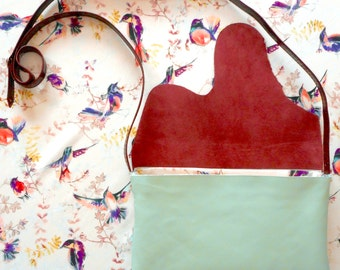 B BAG is a handmade recycled leather purse, light blue and burgundy