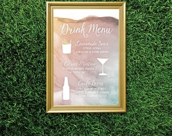 The LAUREN . Drink Menu Large Printed Sign Martini & Craft Beers . Watercolor Rose Quartz Gold Teal Blush Mint Sunset White Calligraphy