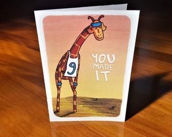 Greeting card - Motivating Giraffe - You made it