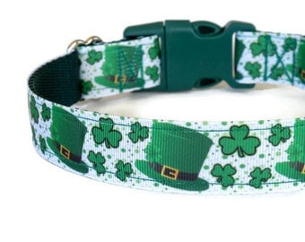 St. Patrick's Day Green Leprechaun Hat & Shamrocks Dog Collar  (Buckle or Martingale)