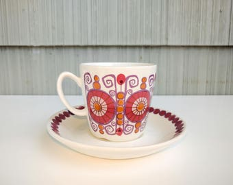 FIGGIO FAJANSE ceramic teacup and saucer in BARCAROLE pattern, Norway