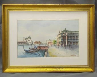 Vintage artist signed original watercolor painting Venice Italy cityscape Venetian scene gondola