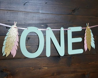 Boho Number Banner... Baby Girl... First Birthday... High Chair... Photo Prop