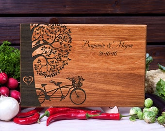 Cutting Board Wedding gift Tandem Bike Love Birds Personalized Wedding Gift Family Gift Anniversary gift Gift for couple wood chopping board