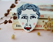 Agatha Christie brooch Literary gift Porcelain brooch Ceramic jewellery English literature gift Gift for book lovers