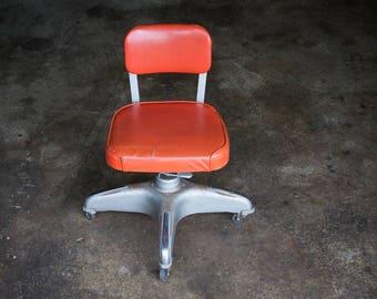 Industrial Metal Shop Chair (c.1960's) | Mid Century MOD Loft Studio Chair | RETRO Orange Vinyl Furniture Decor | COLE