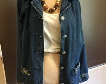 Cool Hipster Denim Long Denim Jacket Embroidered Pockets Collar Sleeves-Australia-Long Loose Denim-Cool Jacket-Hipster-80s