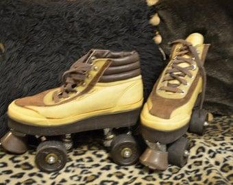Vintage rollerskates quads Roller Derby Boot Skates brown work boot retro shoe skates timberland construction worker hiking boot skates