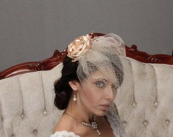 Double Birdcage Veil, Champagne Fascinator, Wedding Hair Flower, Hair Flower, Birdcage Veil, Champagne Veil, Blush Veil, Birdcage Veil