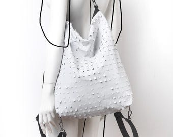 Leather perforated white hobo convertible bag