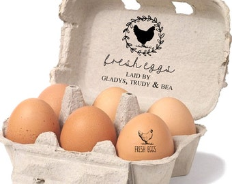 Egg Carton Rubber Stamp - Personalized Egg Carton Stamp - Fresh Eggs - Laid By Chicken Names Stamp - Funny Chicken Gift - Free Range Egg