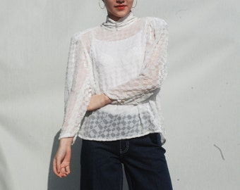 Embellished see through Blouse / choker details / checkered patterns