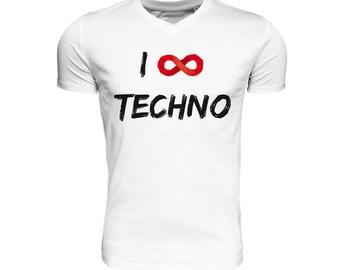 I ∞ TECHNO • v-neck, organic & fair trade cotton