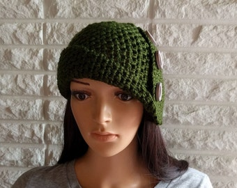 Women's 1920s flapper cloche, green flapper hat, women's green cloche, women's accessories, gifts for her, fall, winter, and spring fashion