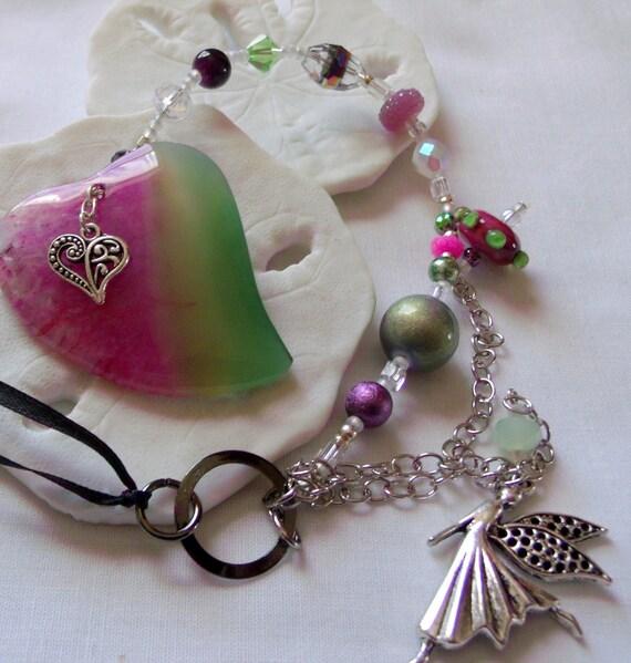 Pink sun catcher - window ornament  -  agate hearts -  pink/green gem stone - rear view mirror - dorm decor -  fairy -  Lizporiginals -gift