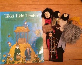 Tikki Tikki Tembo glove puppet and book