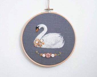 Embroidered Swan, Hand Embroidery Hoop, Swan Princess, Swan Wall Art, Needle Felted Swan, Swan Art, Swan Hoop Art, Original Artwork, OOAK