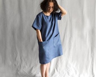Linen women's clothing Dress casual linen dress loose oversized dress midi linen dress with pockets linen tunic embroidered dress