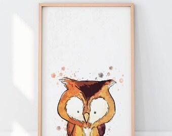 Baby Owl Print, Nursery decor, Woodland Nursery Decor, Owl Wall Art Print, Nursery Prints, Digital Download, DIY
