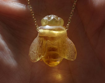 Amber Necklace, Bee Necklace,Honeybee necklace, bee Jewelry, Amber Bee, Hand Carved Bee, Gold Fill, Bee, Amber Birthstone