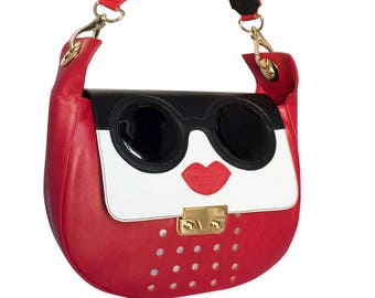 Shoulder red leather goggles-women's leather shoulder bag customizable-handmade leather shoulder bag