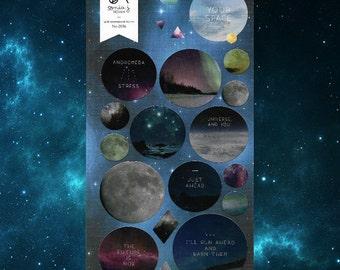 Suatelier Galaxy Planet Universe Metallic Sticker [#2036 Your Space]