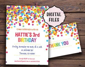 Confetti Birthday Invitation, Printable birthday invitation, Children Birthday Party invitation, bright invite, Children party invitation