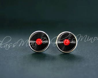 Red Vinyl Record Earrings, Tiny LP Stud Earrings, Retro Jewelry, Musician Post Earrings
