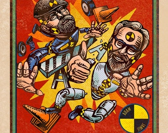 "Mythbusters Matchbox Art- 5"" x 7"" matted signed print"