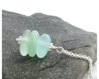 Green & Blue Beach Glass Necklace, Aqua and Seafoam Sea Glass Jewelry, Sterling Silver Stacked Necklace
