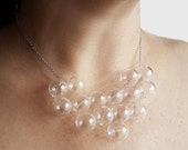 Clear Bubble Necklace - Glass Bubble Necklace, Statement Necklace