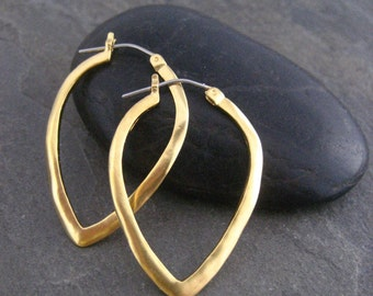 Hoop earrings, triangle shape, gold hoops, simple earrings, hand made