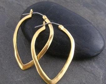 Hoop earrings, triangle shape, gold hoops, simple earrings, hand made