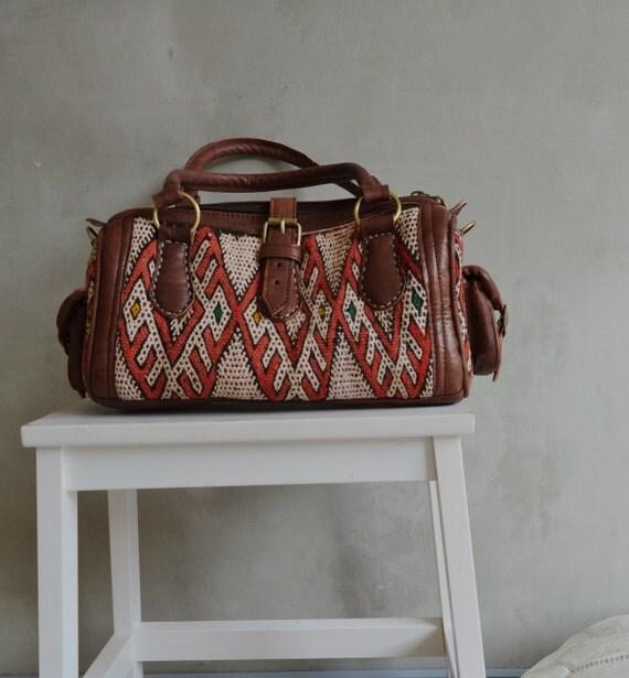 Shoulder Bag- Winter Finds Moroccan Red Kilim Leather Satchel Cross Shoulder Straps Berber bag- tote, handbag, purse, gifts, handbag No.2