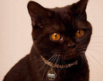 "Gold Pet ID Tag - Cat Name Identification ""nope"" collar ID tag / sassy necklace pendant - gold and white enamel"