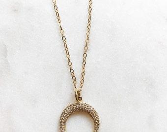 Gold Rhinestone Crescent Moon Necklace