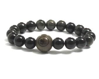 Obsidian Men Inspirational Jewelry, Beaded Bracelet Prayer Meditation Mala Buddhist Worry Beads Bracelet Inspiring Gift for Him Yoga Son Dad
