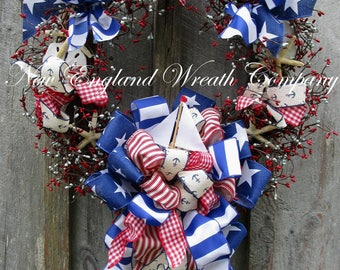 Sailboat Wreath, Beach Cottage Wreath, Shell Wreath, Coastal Wreath, Nautical Wreath, Patriotic Wreath, 4th of July Wreath, Memorial Day