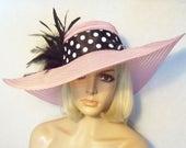 Ladies Pink Hat - Pink and Black Polka Dot Hat - Kentucky Derby Hat
