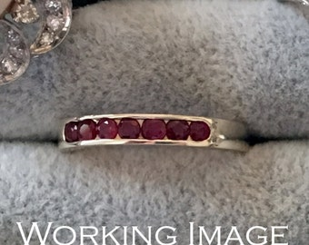 Vintage White Gold Ruby Band