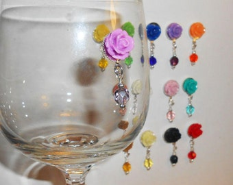 Pretty Flower Wine Glass Charms - Magnetic Wine Glass Charms - Stemless Wine Charms - Bridal Shower - Baby Shower - Mothers Day Gifts