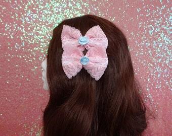Precious Blue Rose Sweet Lolita Pink Lace Hair Bow Pair