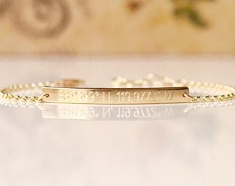 Skinny & Dainty Coordinates Bracelet - 35x3.2mm - Personalized Bar Bracelet, Engraved Bar Bracelet, Custom Skinny Bar Bracelet - dB3532rolo
