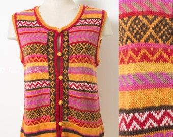 70s Hippie top, 70s Boho Top, Vintage tank top, 70s knit top, 70s Sleeveless top, Vintage pink tank top, vintage knit top  - M/L